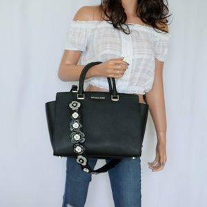 Michael Kors Selma LG Satchel Bag Black  & 2 Strap